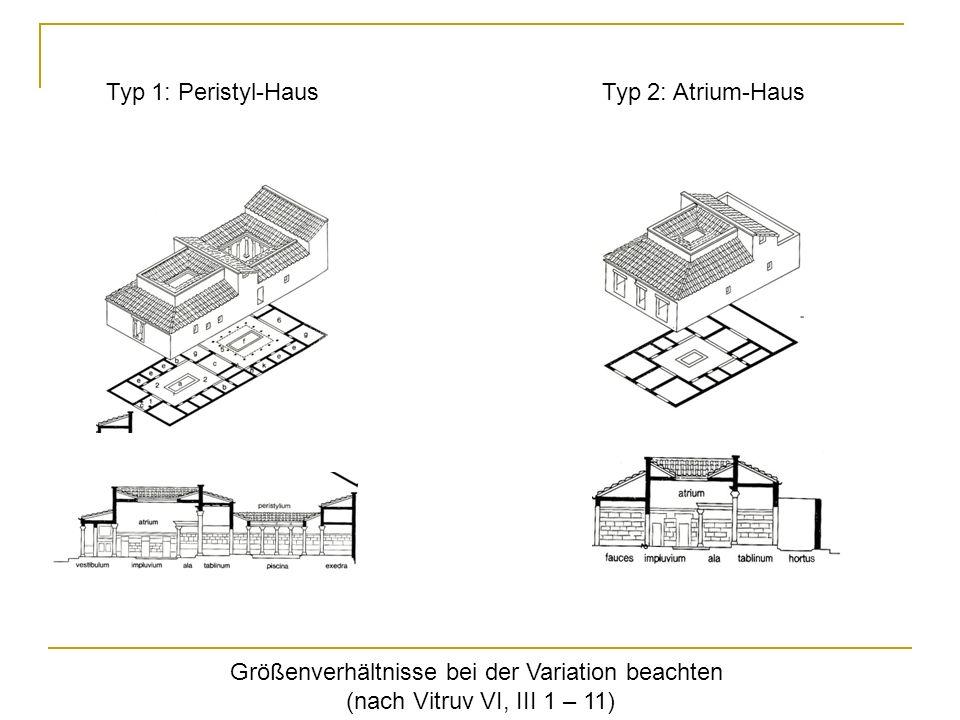 Typ 1: Peristyl-HausTyp 2: Atrium-Haus Größenverhältnisse bei der Variation beachten (nach Vitruv VI, III 1 – 11)