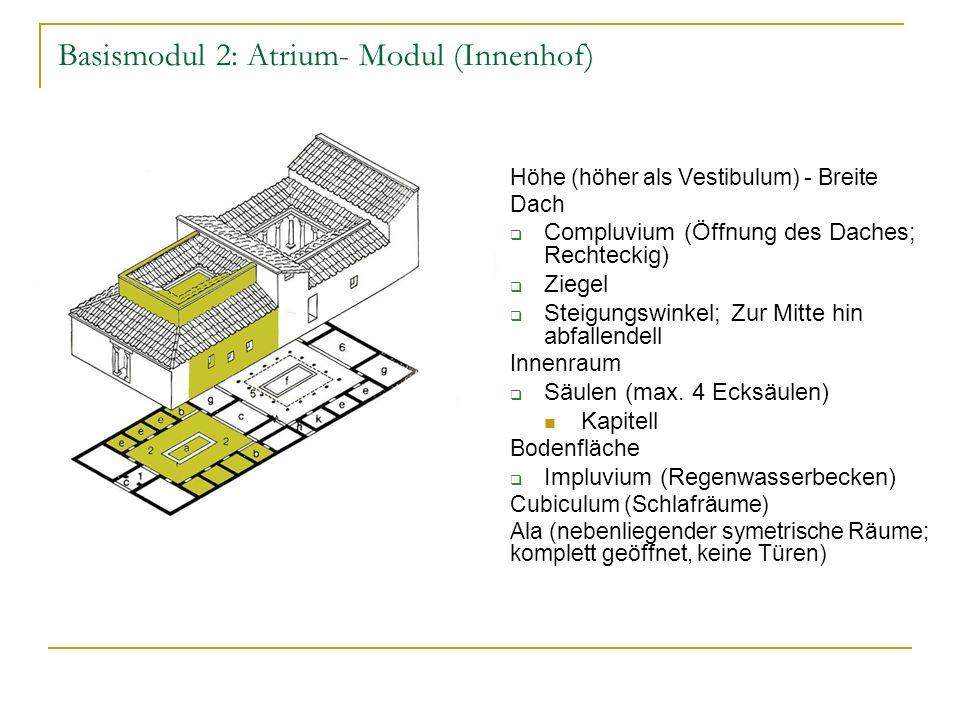 Basismodul 2: Atrium- Modul (Innenhof) Höhe (höher als Vestibulum) - Breite Dach Compluvium (Öffnung des Daches; Rechteckig) Ziegel Steigungswinkel; Zur Mitte hin abfallendell Innenraum Säulen (max.