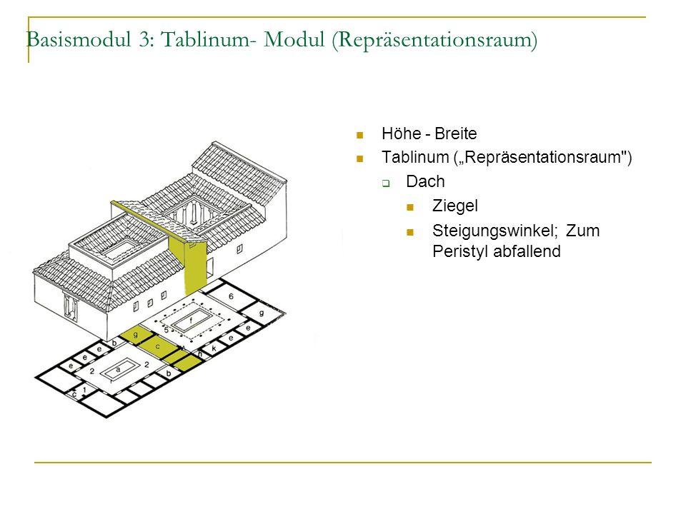 Basismodul 3: Tablinum- Modul (Repräsentationsraum) Höhe - Breite Tablinum (Repräsentationsraum ) Dach Ziegel Steigungswinkel; Zum Peristyl abfallend