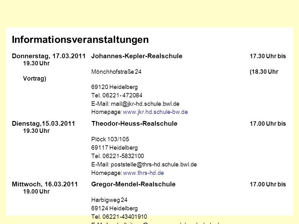 InformatiosveranstaltungenInformatiosveranstaltungen Informationsveranstaltungen Donnerstag, 17.03.2011Johannes-Kepler-Realschule 17.30 Uhr bis 19.30
