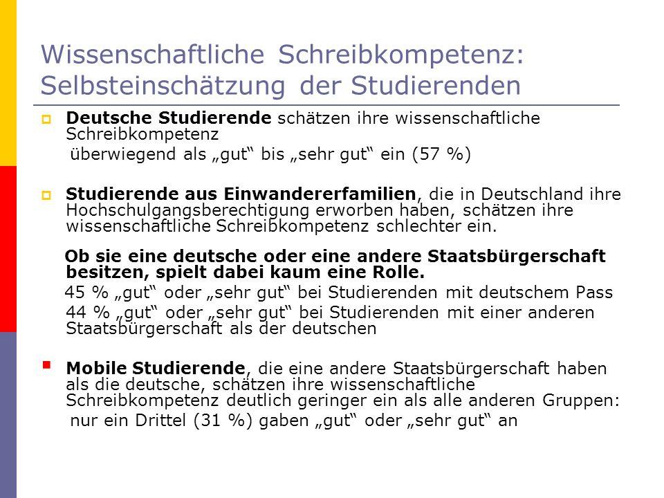 Deutsche Studierende schätzen ihre wissenschaftliche Schreibkompetenz überwiegend als gut bis sehr gut ein (57 %) Studierende aus Einwandererfamilien,