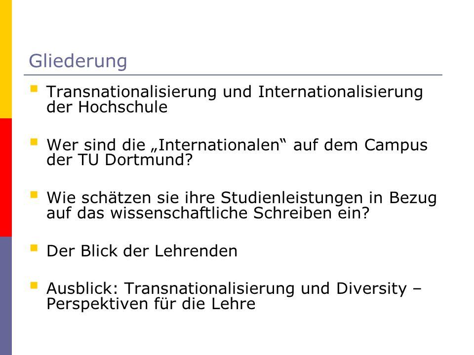 Gliederung Transnationalisierung und Internationalisierung der Hochschule Wer sind die Internationalen auf dem Campus der TU Dortmund? Wie schätzen si