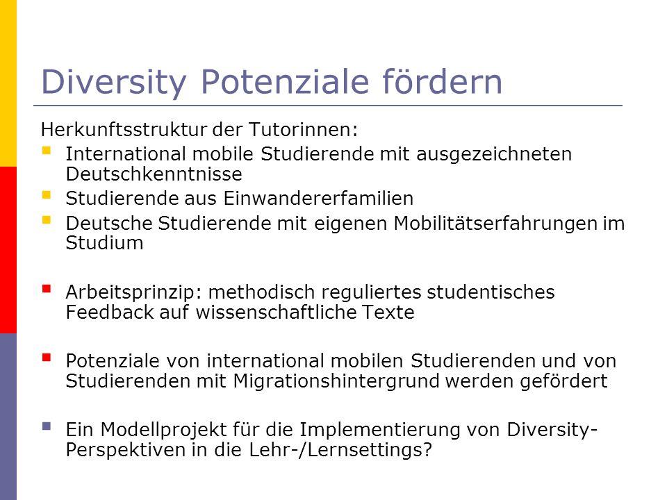 Diversity Potenziale fördern Herkunftsstruktur der Tutorinnen: International mobile Studierende mit ausgezeichneten Deutschkenntnisse Studierende aus