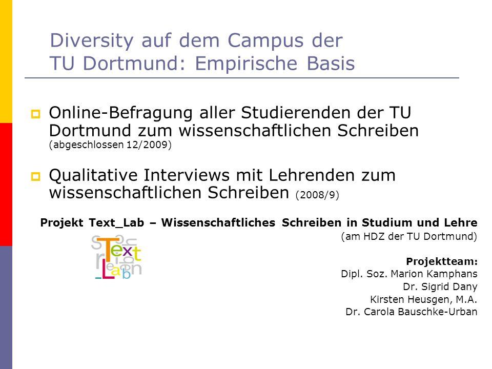 Diversity auf dem Campus der TU Dortmund: Empirische Basis Online-Befragung aller Studierenden der TU Dortmund zum wissenschaftlichen Schreiben (abges
