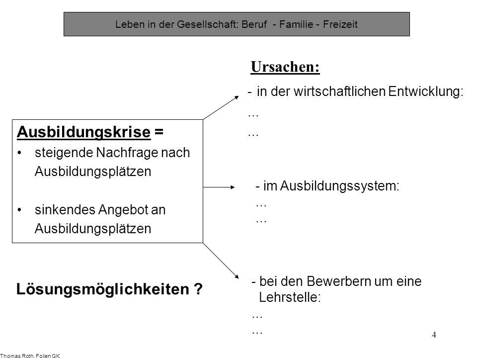 4 Leben in der Gesellschaft: Beruf - Familie - Freizeit - in der wirtschaftlichen Entwicklung:... Ursachen: - im Ausbildungssystem:... - bei den Bewer