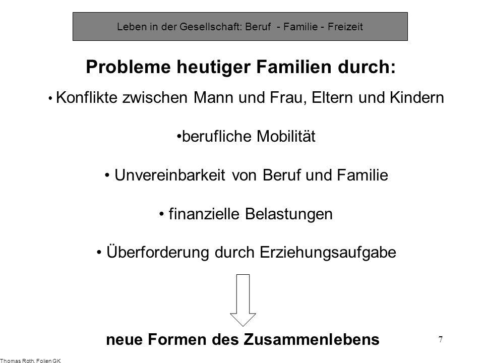 7 Probleme heutiger Familien durch: Konflikte zwischen Mann und Frau, Eltern und Kindern berufliche Mobilität Unvereinbarkeit von Beruf und Familie fi