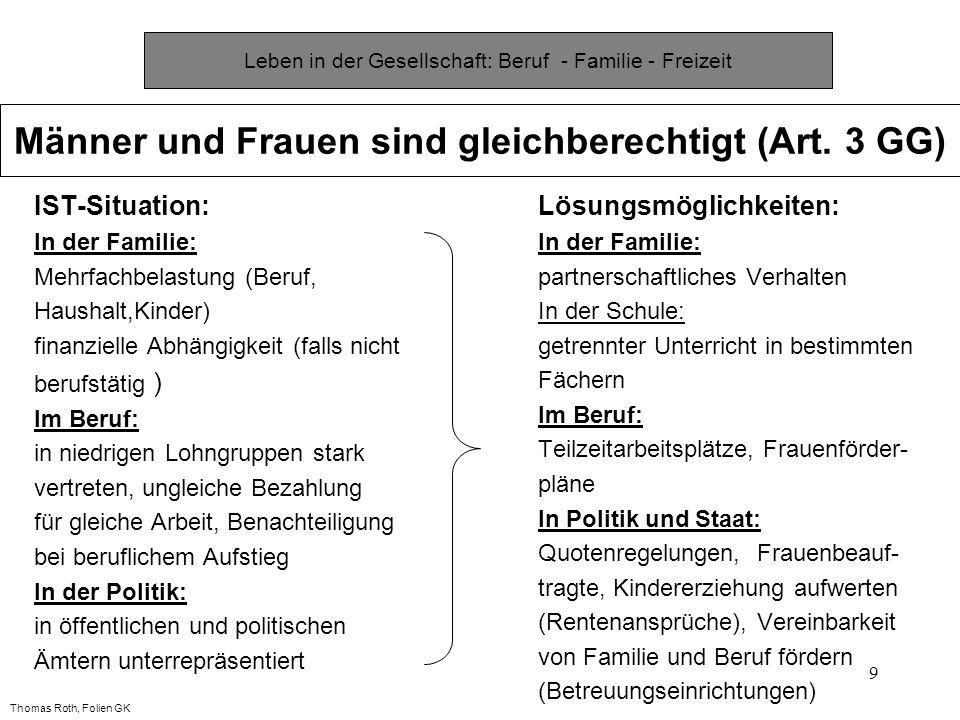 9 IST-Situation: In der Familie: Mehrfachbelastung (Beruf, Haushalt,Kinder) finanzielle Abhängigkeit (falls nicht berufstätig ) Im Beruf: in niedrigen