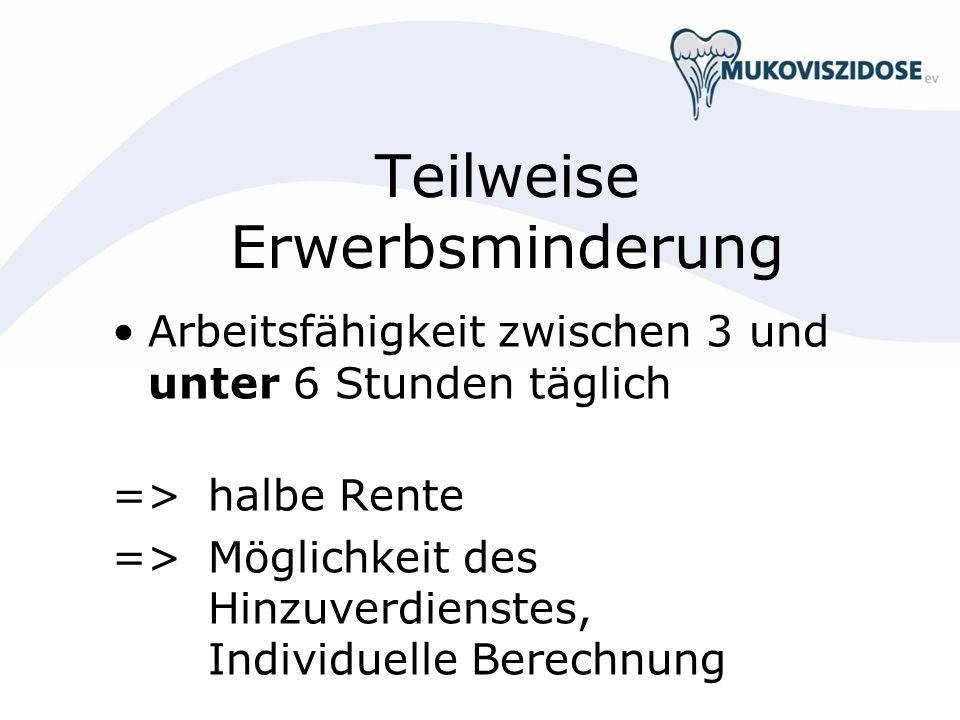 Teilweise Erwerbsminderung Arbeitsfähigkeit zwischen 3 und unter 6 Stunden täglich => halbe Rente => Möglichkeit des Hinzuverdienstes, Individuelle Be