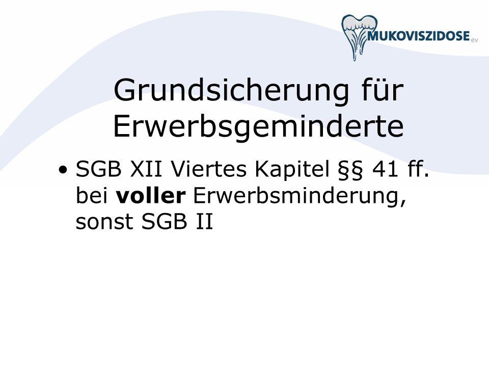 Grundsicherung für Erwerbsgeminderte SGB XII Viertes Kapitel §§ 41 ff. bei voller Erwerbsminderung, sonst SGB II