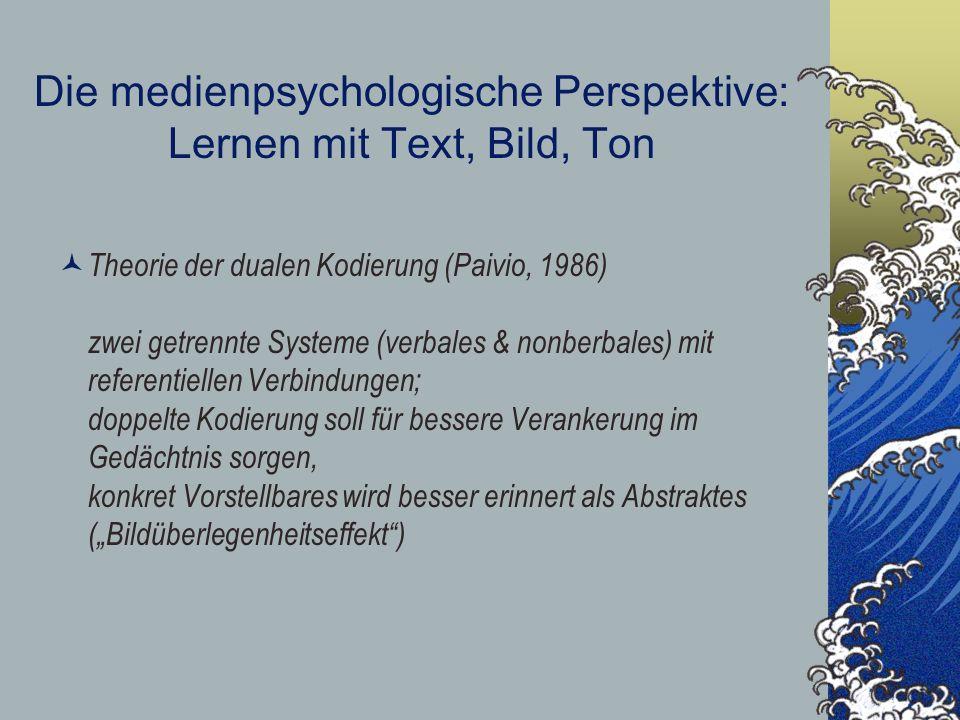 Die medienpsychologische Perspektive: Lernen mit Text, Bild, Ton Theorie der dualen Kodierung (Paivio, 1986) zwei getrennte Systeme (verbales & nonber
