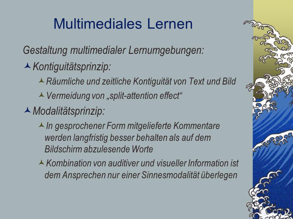 Multimediales Lernen Gestaltung multimedialer Lernumgebungen: Kontiguitätsprinzip: Räumliche und zeitliche Kontiguität von Text und Bild Vermeidung vo