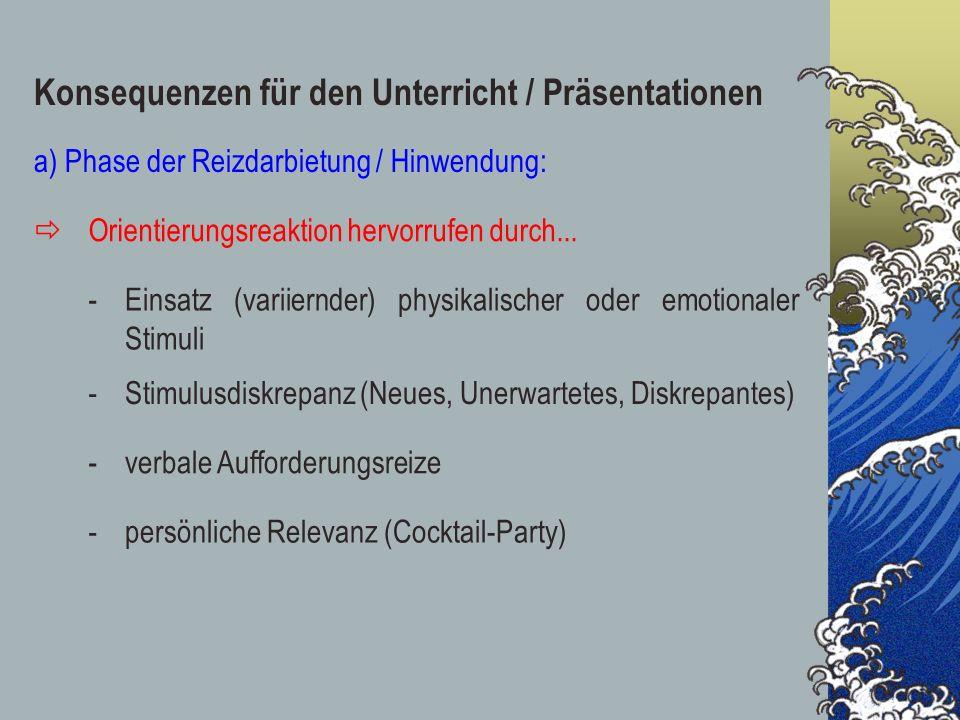 Konsequenzen für den Unterricht / Präsentationen a) Phase der Reizdarbietung / Hinwendung: Orientierungsreaktion hervorrufen durch... -Einsatz (variie