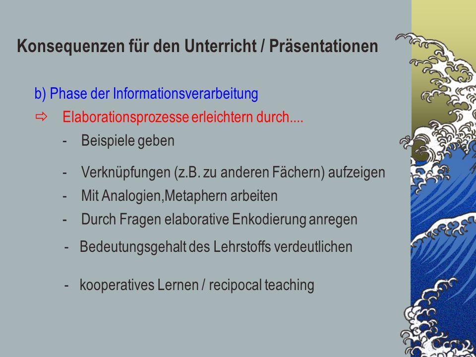 Konsequenzen für den Unterricht / Präsentationen b) Phase der Informationsverarbeitung Elaborationsprozesse erleichtern durch.... -Beispiele geben -Ve