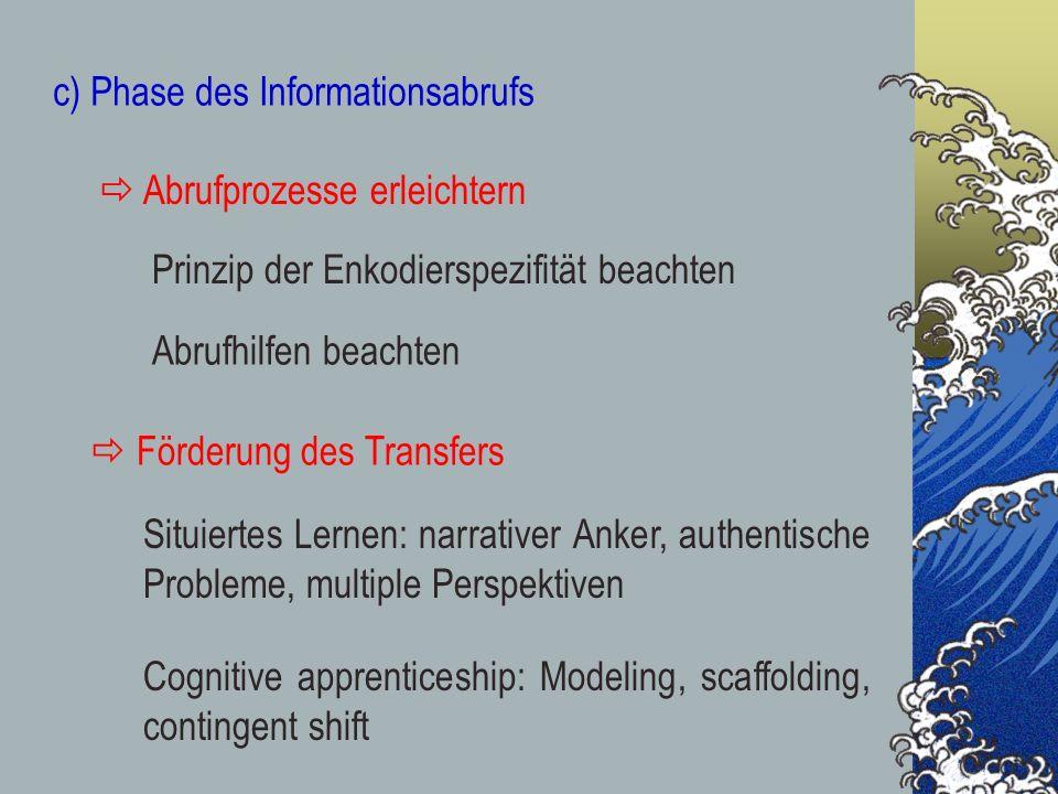 c) Phase des Informationsabrufs Prinzip der Enkodierspezifität beachten Abrufhilfen beachten Abrufprozesse erleichtern Situiertes Lernen: narrativer A