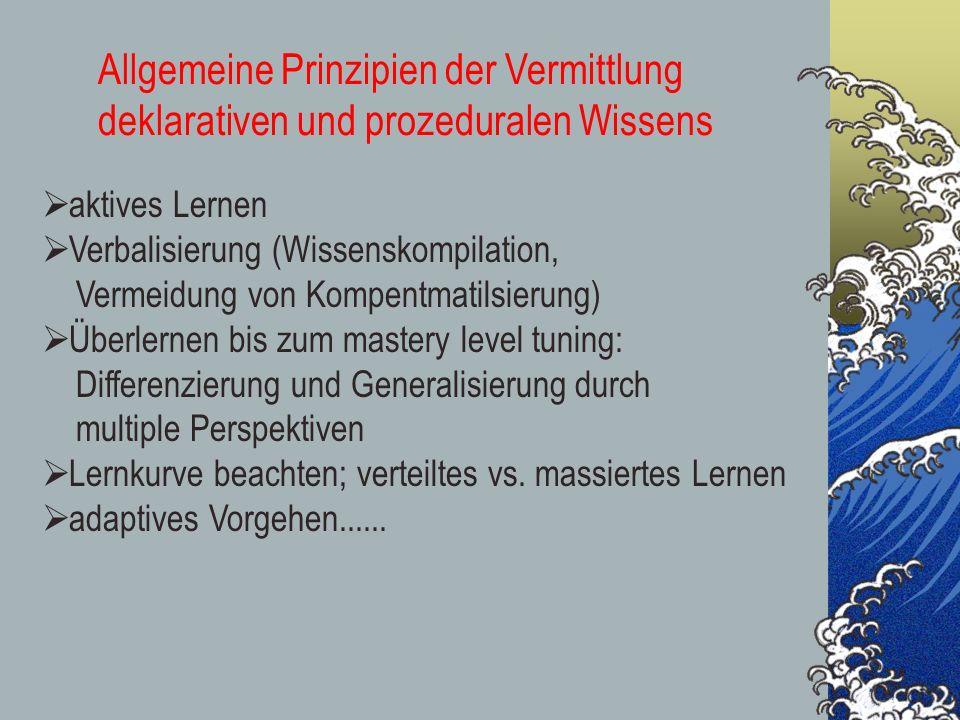 Allgemeine Prinzipien der Vermittlung deklarativen und prozeduralen Wissens aktives Lernen Verbalisierung (Wissenskompilation, Vermeidung von Kompentm