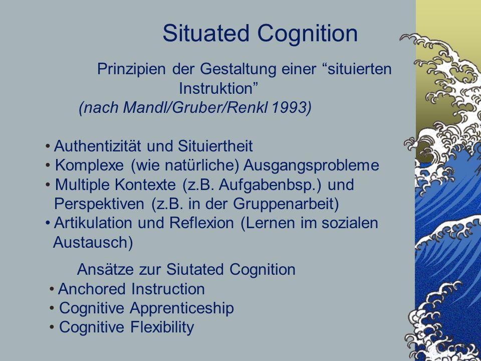Situated Cognition Prinzipien der Gestaltung einer situierten Instruktion (nach Mandl/Gruber/Renkl 1993) Authentizität und Situiertheit Komplexe (wie