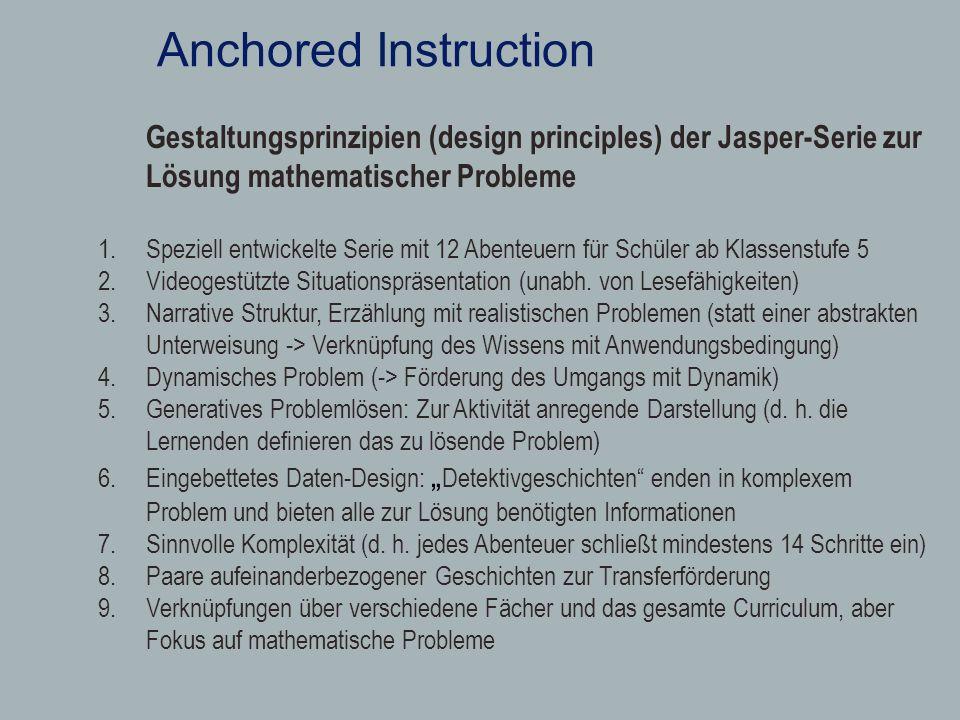 Anchored Instruction Gestaltungsprinzipien (design principles) der Jasper-Serie zur Lösung mathematischer Probleme 1.Speziell entwickelte Serie mit 12