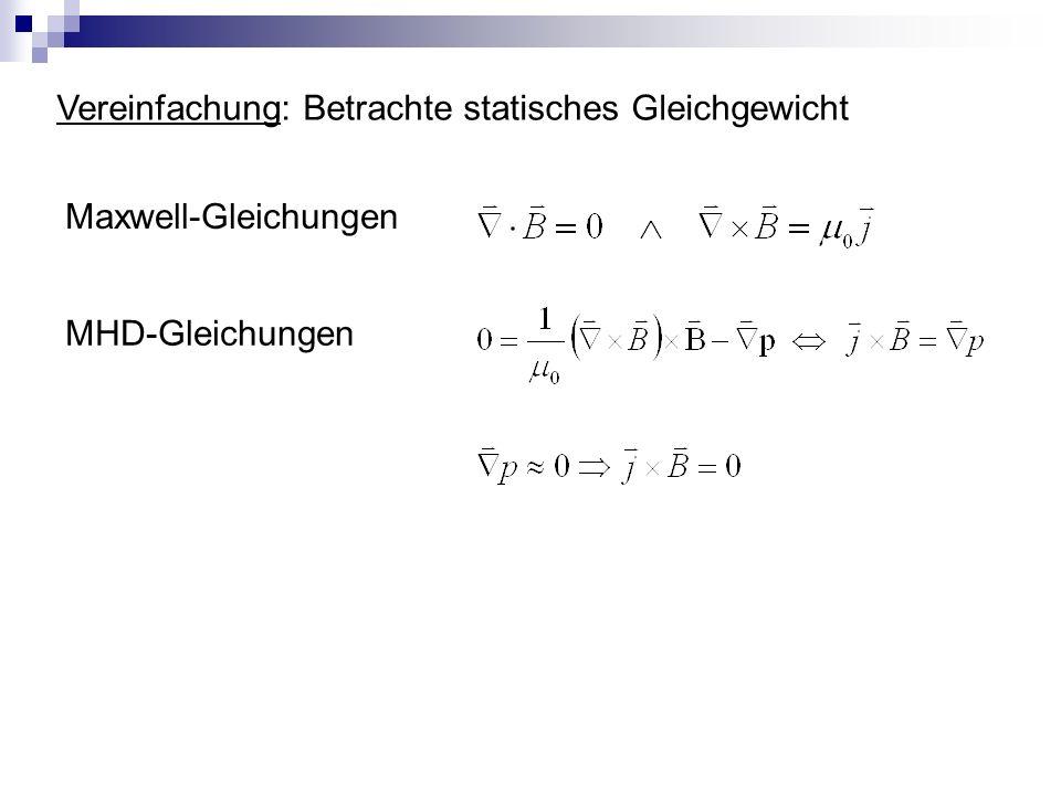 Vereinfachung: Betrachte statisches Gleichgewicht MHD-Gleichungen Maxwell-Gleichungen