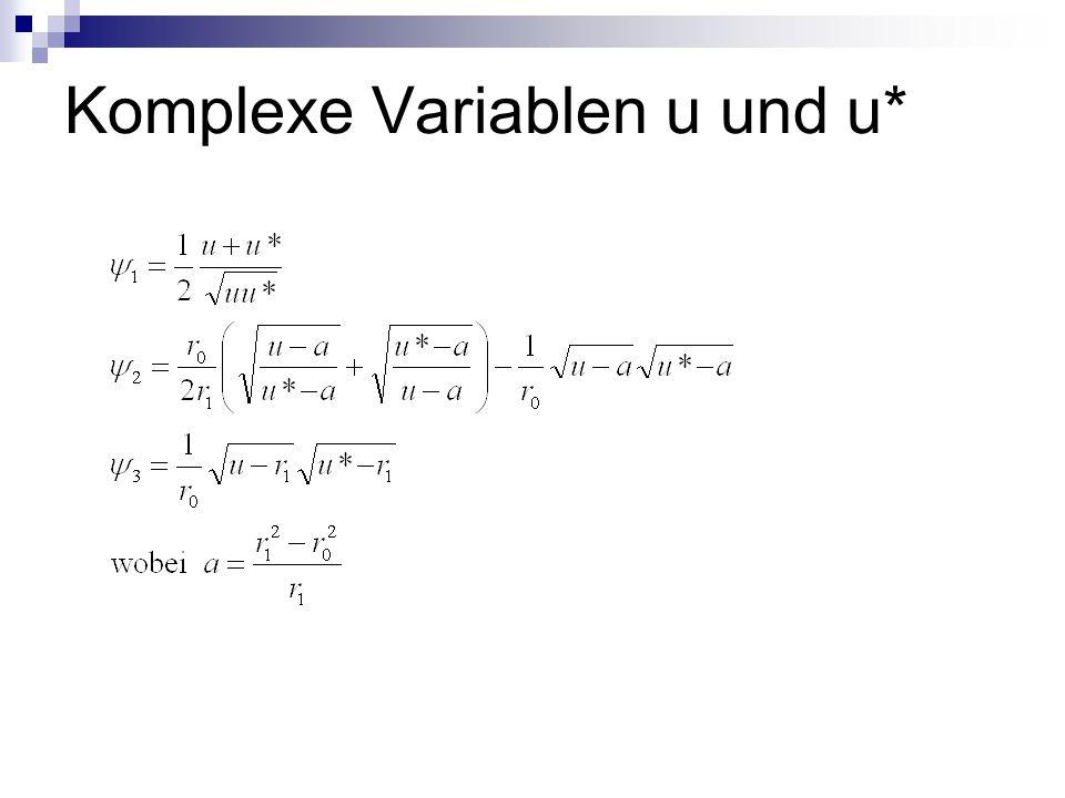 Komplexe Variablen u und u*