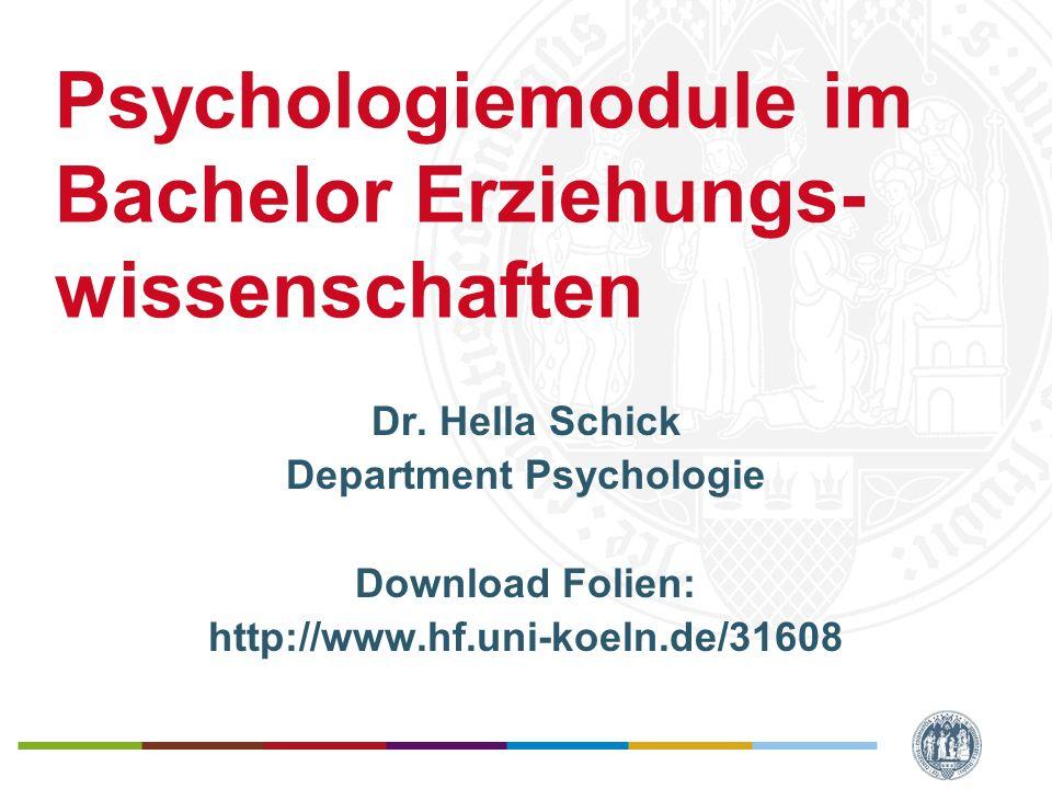 Psychologiemodule im Bachelor EWS Universität zu Köln Psychologie-Anteile im BA-EWS Im Fach Psychologie –Werden 3 Module studiert –Jedes Modul hat einen Umfang von 11 CP –Es werden 2 Basismodule und 1 Aufbaumodul studiert –Module werden immer vollständig studiert, Leistungen aus einem Modul werden nicht für ein anderes anerkannt Die Module sind Wahlpflichtmodule –D.h.