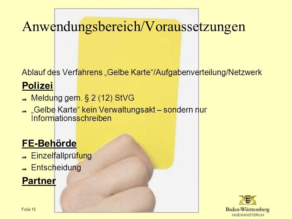 INNENMINISTERIUM Folie 15 Anwendungsbereich/Voraussetzungen Ablauf des Verfahrens Gelbe Karte/Aufgabenverteilung/Netzwerk Polizei Meldung gem. § 2 (12