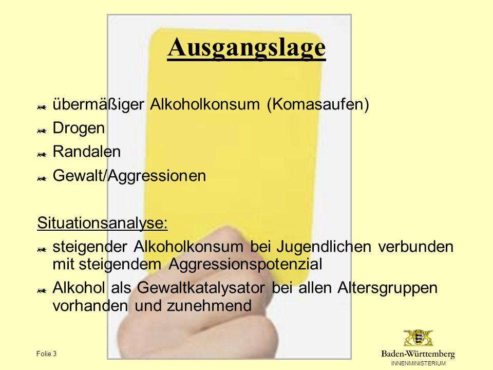 INNENMINISTERIUM Folie 3 Ausgangslage übermäßiger Alkoholkonsum (Komasaufen) Drogen Randalen Gewalt/Aggressionen Situationsanalyse: steigender Alkohol