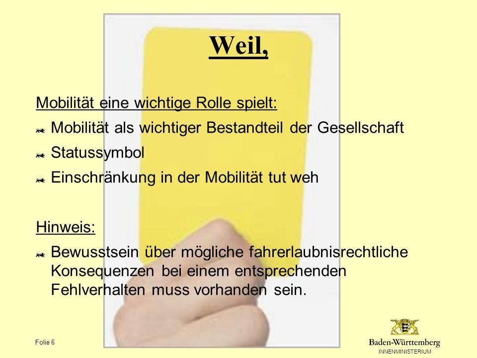 INNENMINISTERIUM Folie 6 Weil, Mobilität eine wichtige Rolle spielt: Mobilität als wichtiger Bestandteil der Gesellschaft Statussymbol Einschränkung i
