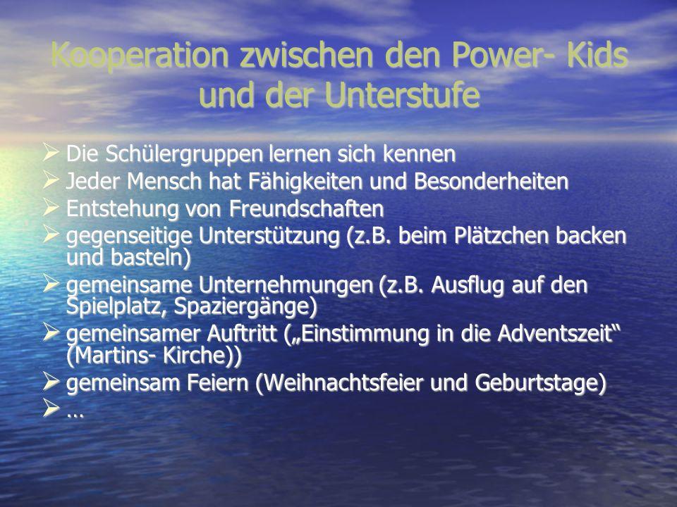 Kooperation zwischen den Power- Kids und der Unterstufe Die Schülergruppen lernen sich kennen Die Schülergruppen lernen sich kennen Jeder Mensch hat F