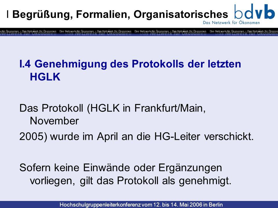 Hochschulgruppenleiterkonferenz vom 12. bis 14. Mai 2006 in Berlin I Begrüßung, Formalien, Organisatorisches I.4 Genehmigung des Protokolls der letzte