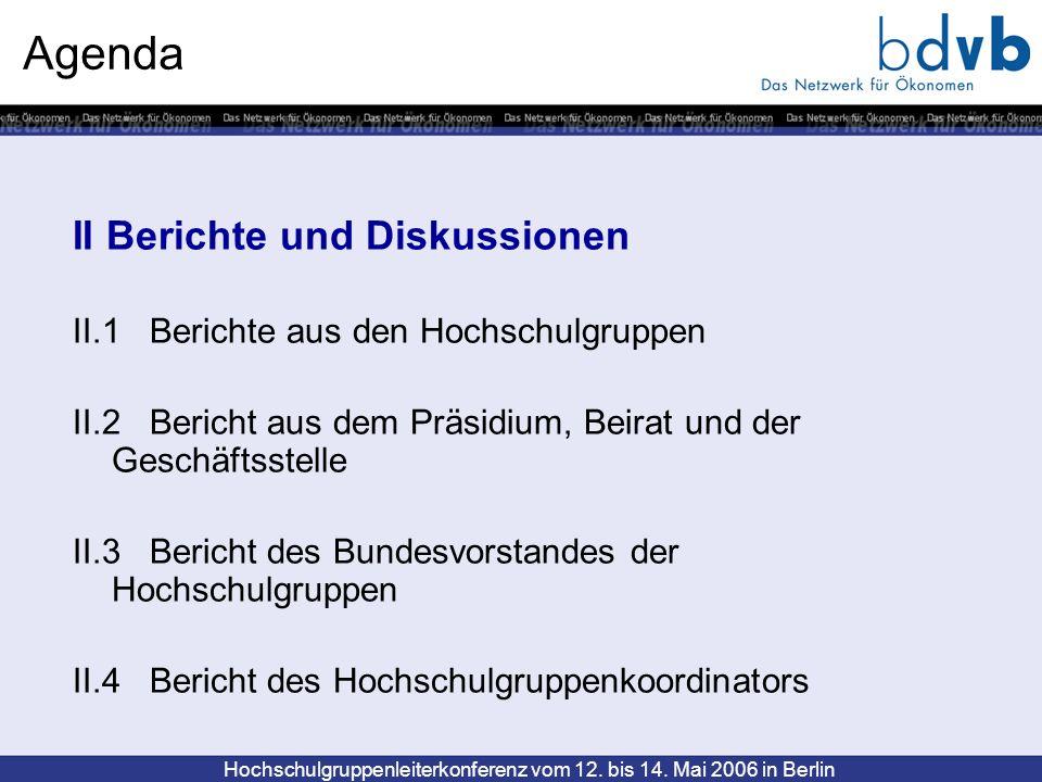 Hochschulgruppenleiterkonferenz vom 12. bis 14. Mai 2006 in Berlin Agenda II Berichte und Diskussionen II.1 Berichte aus den Hochschulgruppen II.2 Ber