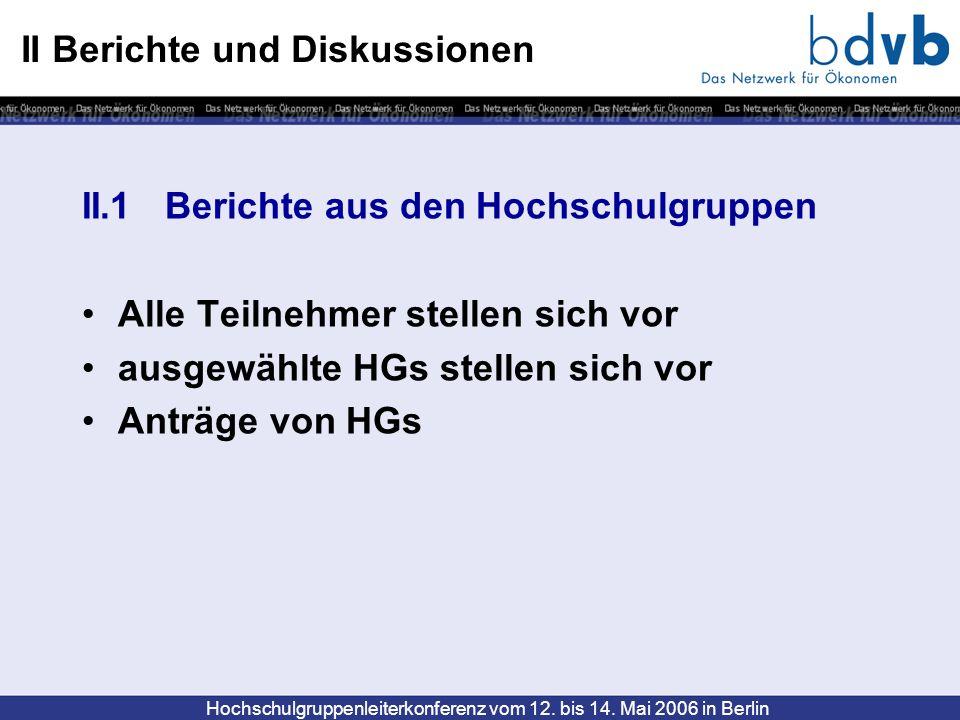 Hochschulgruppenleiterkonferenz vom 12. bis 14. Mai 2006 in Berlin II Berichte und Diskussionen II.1 Berichte aus den Hochschulgruppen Alle Teilnehmer