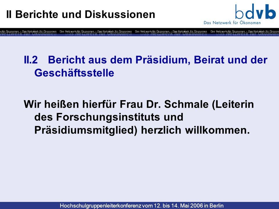 Hochschulgruppenleiterkonferenz vom 12. bis 14. Mai 2006 in Berlin II Berichte und Diskussionen II.2 Bericht aus dem Präsidium, Beirat und der Geschäf