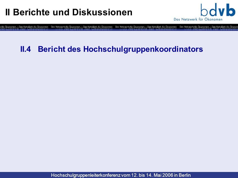 Hochschulgruppenleiterkonferenz vom 12. bis 14. Mai 2006 in Berlin II Berichte und Diskussionen II.4 Bericht des Hochschulgruppenkoordinators
