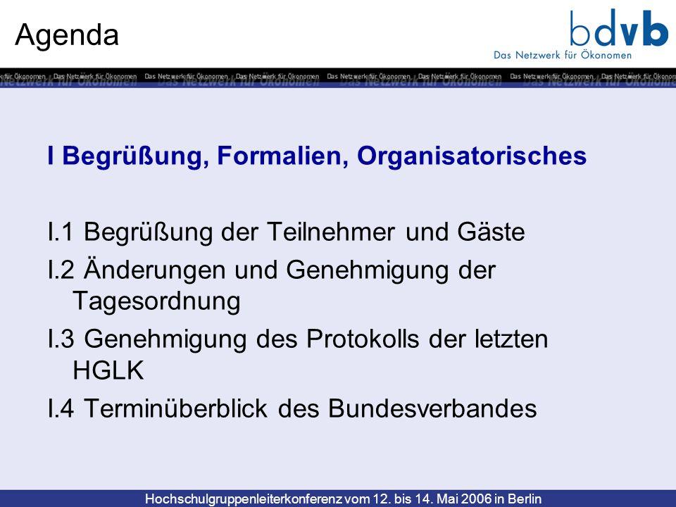Hochschulgruppenleiterkonferenz vom 12. bis 14. Mai 2006 in Berlin Agenda I Begrüßung, Formalien, Organisatorisches I.1 Begrüßung der Teilnehmer und G