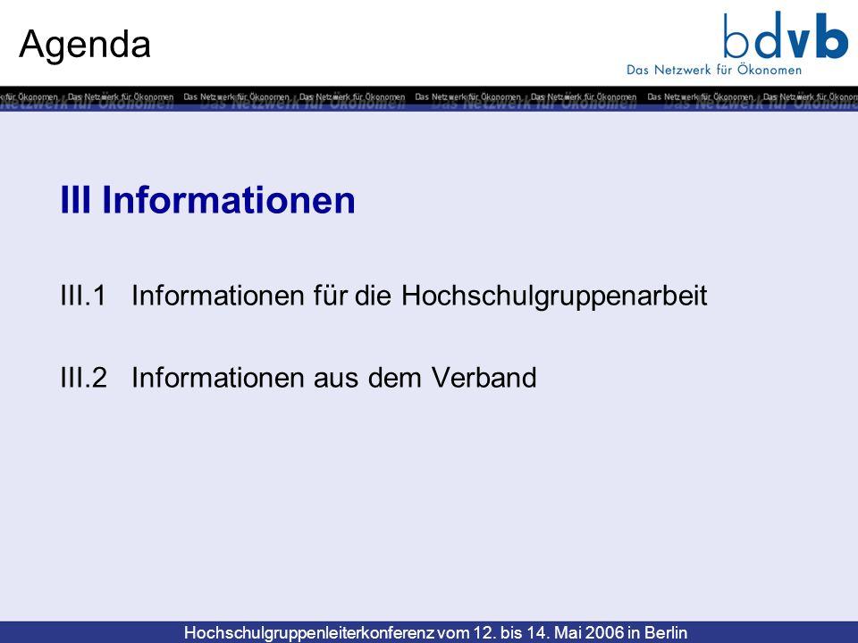 Hochschulgruppenleiterkonferenz vom 12. bis 14. Mai 2006 in Berlin Agenda III Informationen III.1 Informationen für die Hochschulgruppenarbeit III.2 I