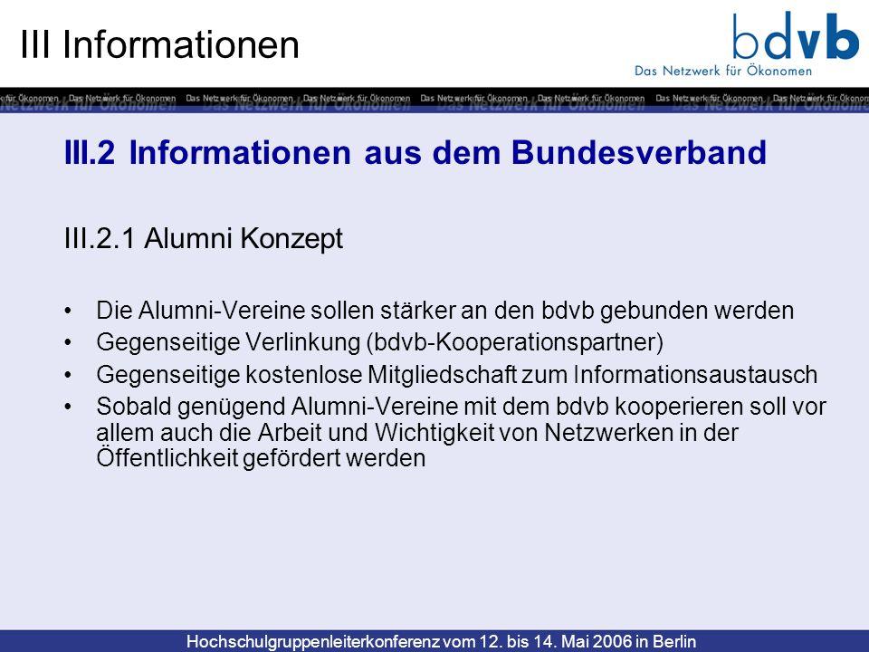 Hochschulgruppenleiterkonferenz vom 12. bis 14. Mai 2006 in Berlin III Informationen III.2 Informationen aus dem Bundesverband III.2.1 Alumni Konzept