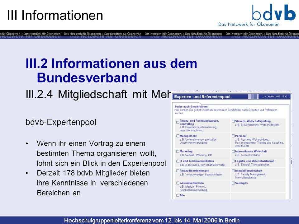 Hochschulgruppenleiterkonferenz vom 12. bis 14. Mai 2006 in Berlin III Informationen III.2 Informationen aus dem Bundesverband III.2.4 Mitgliedschaft