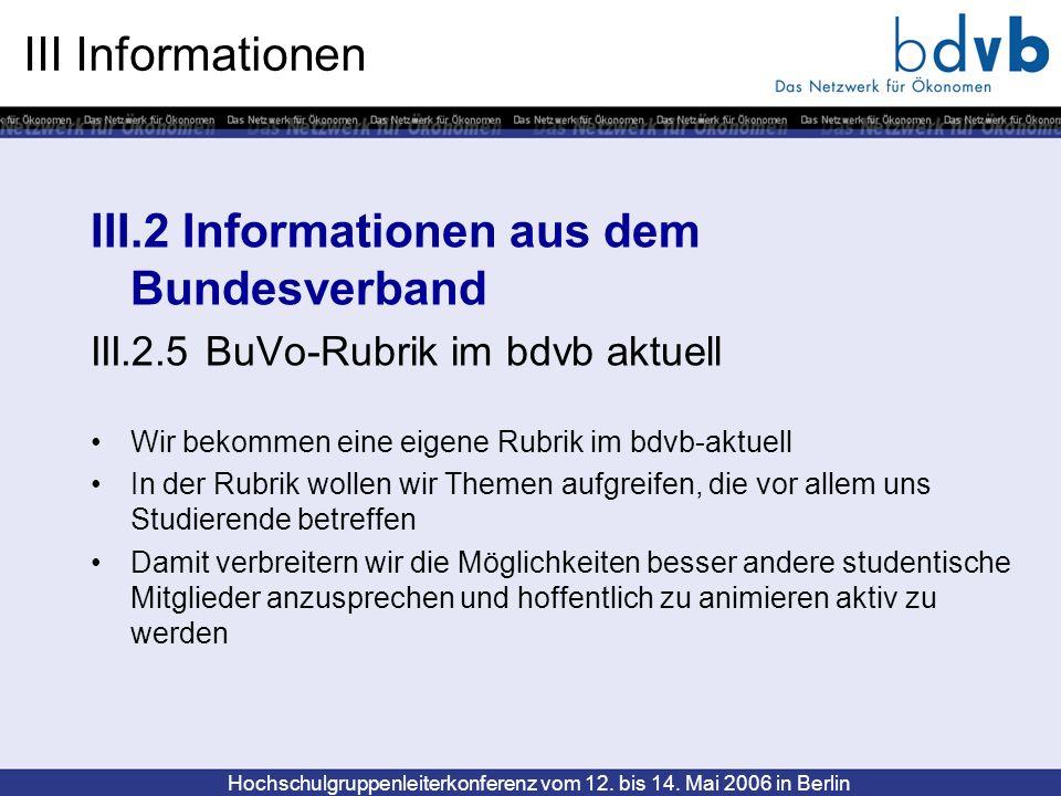 Hochschulgruppenleiterkonferenz vom 12. bis 14. Mai 2006 in Berlin III Informationen III.2 Informationen aus dem Bundesverband III.2.5 BuVo-Rubrik im