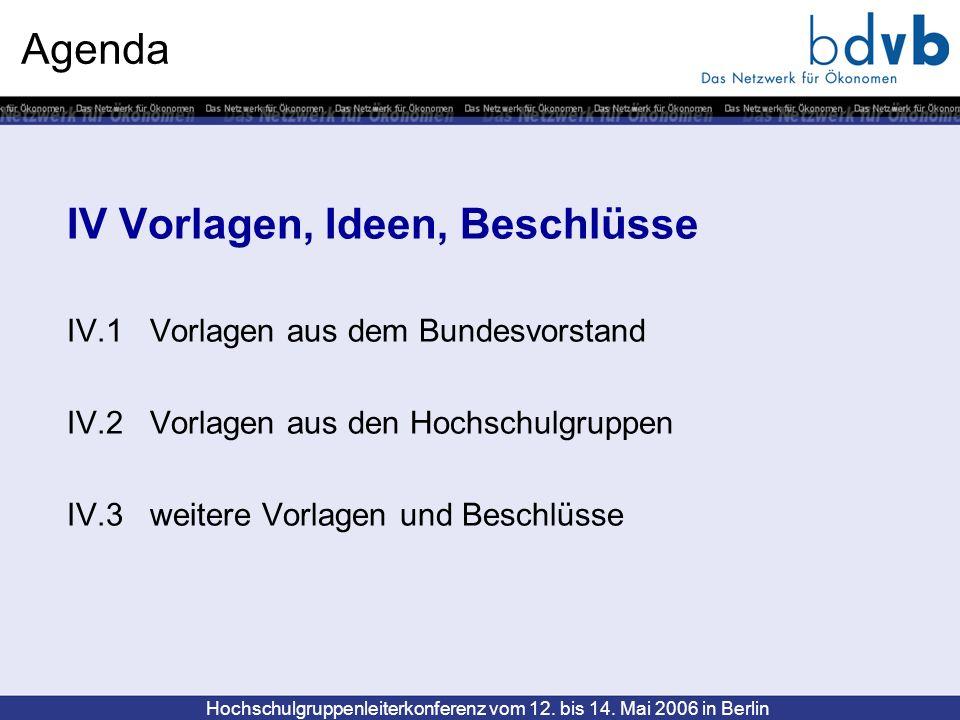 Hochschulgruppenleiterkonferenz vom 12. bis 14. Mai 2006 in Berlin Agenda IV Vorlagen, Ideen, Beschlüsse IV.1 Vorlagen aus dem Bundesvorstand IV.2 Vor