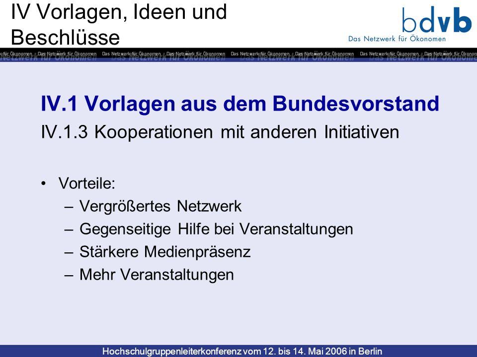 Hochschulgruppenleiterkonferenz vom 12. bis 14. Mai 2006 in Berlin IV Vorlagen, Ideen und Beschlüsse IV.1 Vorlagen aus dem Bundesvorstand IV.1.3 Koope