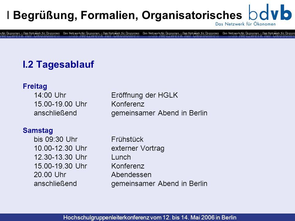 Hochschulgruppenleiterkonferenz vom 12. bis 14. Mai 2006 in Berlin I Begrüßung, Formalien, Organisatorisches I.2 Tagesablauf Freitag 14:00 Uhr Eröffnu