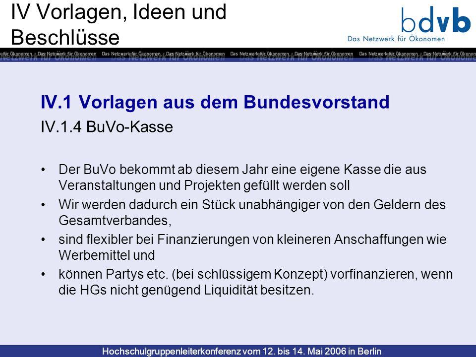 Hochschulgruppenleiterkonferenz vom 12. bis 14. Mai 2006 in Berlin IV Vorlagen, Ideen und Beschlüsse IV.1 Vorlagen aus dem Bundesvorstand IV.1.4 BuVo-