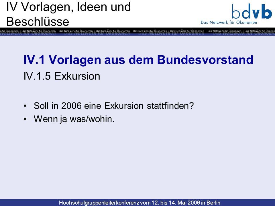 Hochschulgruppenleiterkonferenz vom 12. bis 14. Mai 2006 in Berlin IV Vorlagen, Ideen und Beschlüsse IV.1 Vorlagen aus dem Bundesvorstand IV.1.5 Exkur