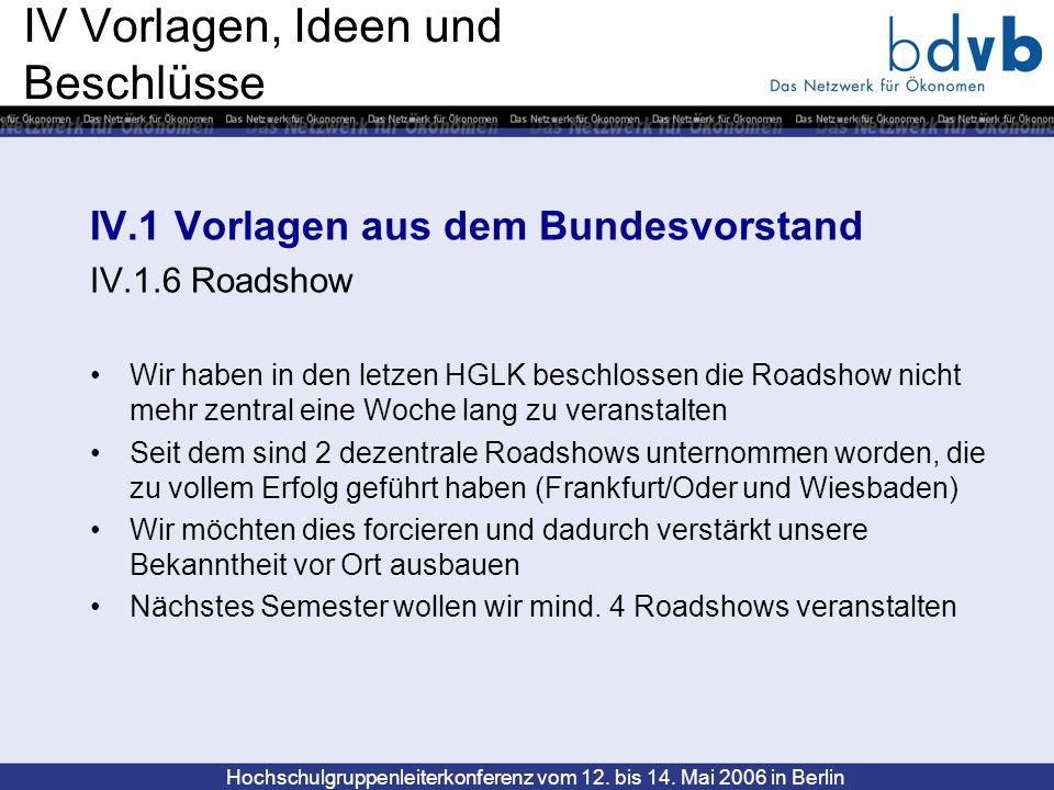 Hochschulgruppenleiterkonferenz vom 12. bis 14. Mai 2006 in Berlin IV Vorlagen, Ideen und Beschlüsse IV.1 Vorlagen aus dem Bundesvorstand IV.1.6 Roads