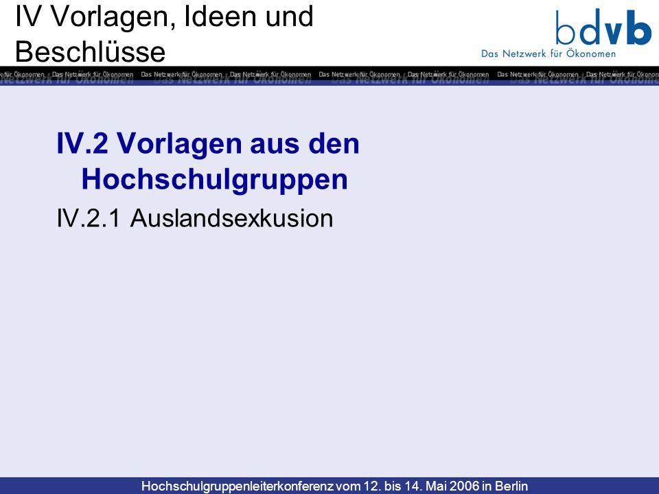 Hochschulgruppenleiterkonferenz vom 12. bis 14. Mai 2006 in Berlin IV Vorlagen, Ideen und Beschlüsse IV.2 Vorlagen aus den Hochschulgruppen IV.2.1 Aus