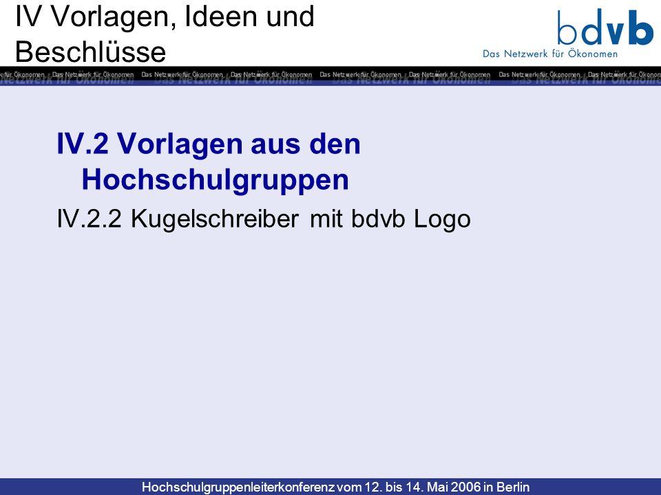 Hochschulgruppenleiterkonferenz vom 12. bis 14. Mai 2006 in Berlin IV Vorlagen, Ideen und Beschlüsse IV.2 Vorlagen aus den Hochschulgruppen IV.2.2 Kug