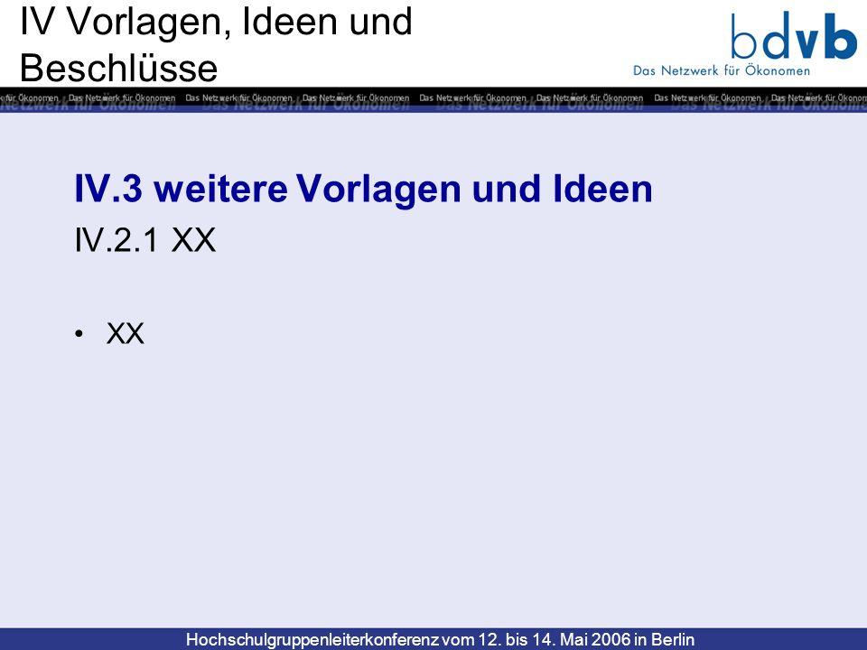 Hochschulgruppenleiterkonferenz vom 12. bis 14. Mai 2006 in Berlin IV Vorlagen, Ideen und Beschlüsse IV.3 weitere Vorlagen und Ideen IV.2.1 XX XX