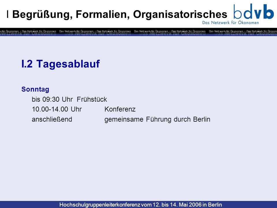Hochschulgruppenleiterkonferenz vom 12. bis 14. Mai 2006 in Berlin I Begrüßung, Formalien, Organisatorisches I.2 Tagesablauf Sonntag bis 09:30 UhrFrüh