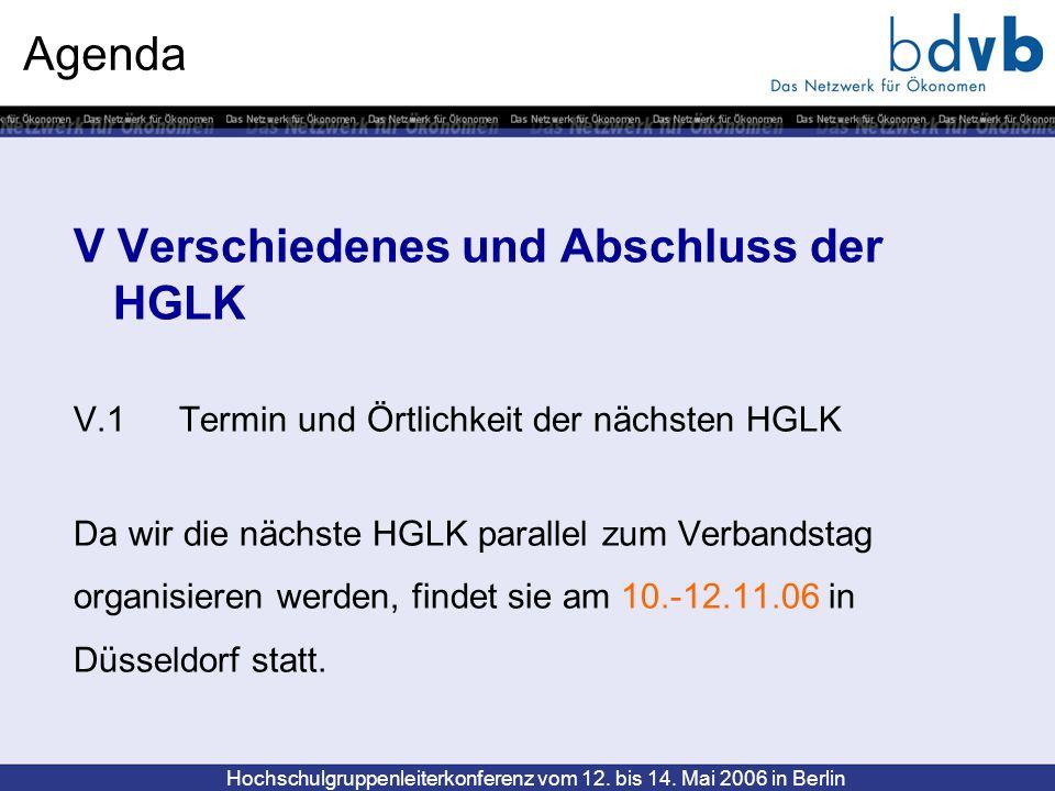 Agenda V Verschiedenes und Abschluss der HGLK V.1Termin und Örtlichkeit der nächsten HGLK Da wir die nächste HGLK parallel zum Verbandstag organisiere