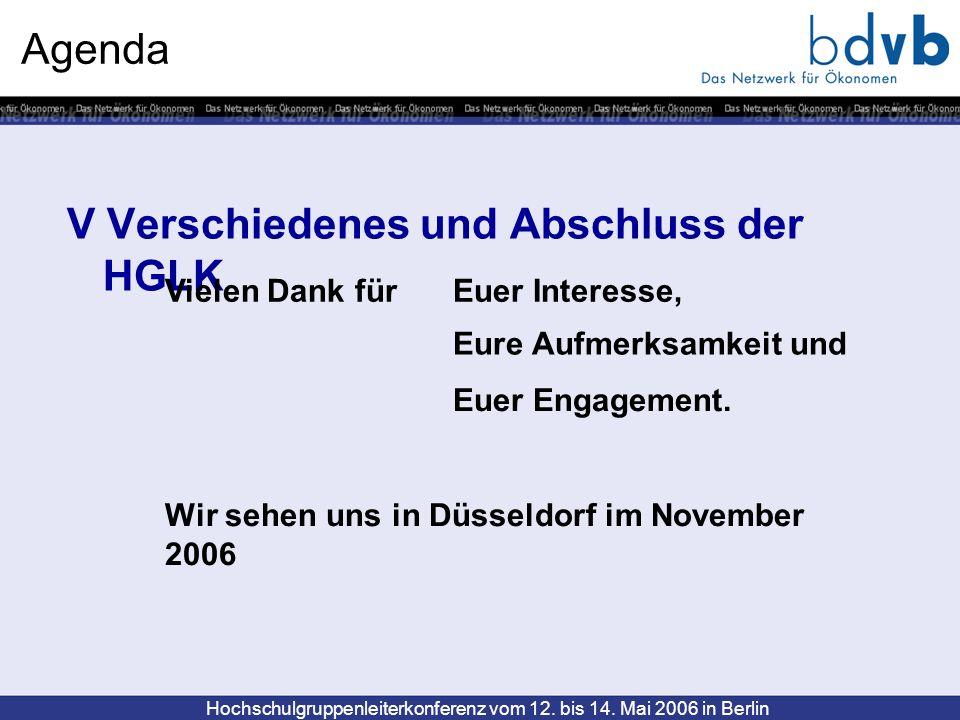 Hochschulgruppenleiterkonferenz vom 12. bis 14. Mai 2006 in Berlin Agenda V Verschiedenes und Abschluss der HGLK Vielen Dank für Euer Interesse, Eure